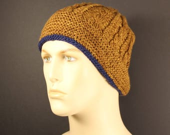 Classic Cable Hand-Knit Hat for Adult in Wool yarn