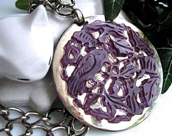 Carved Bird Leaves Oriental Pendant, Silver Medallion, Purple Glass Stone Tapestry Carving, Amethyst on Silver Disc