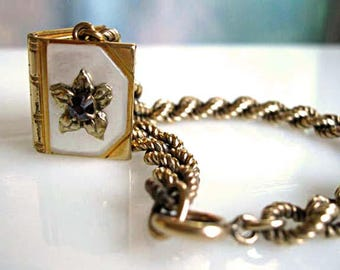 Photo Album Book Locket Bracelet Charm, Purple Flower Mother of Pearl Cover Front, 12kgf Twist Chain, Young Girls Petite Locket Pendant