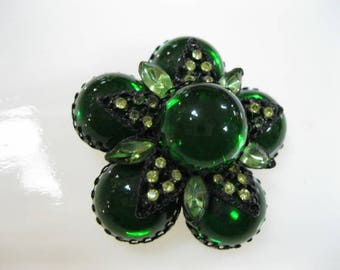 Green Lucite Cabstones Brooch, Selini Selro, Emerald Jelly Domed Stones, Black Japanned Metal with Rhinestones, St Patricks Day, Unsigned