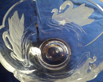 Lead glass bowl with etched and frosted swans