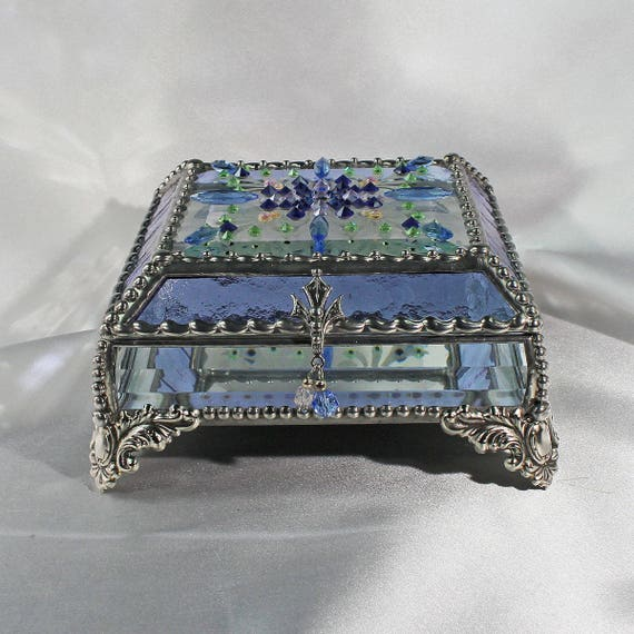 Jewel Encrusted Treasure Box, Stained Glass, Jewelry Box, Vintage Jewels