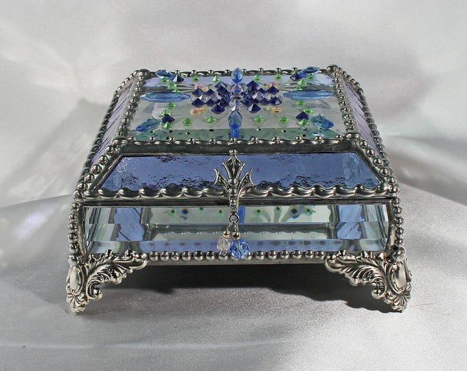 Jewel Encrusted Treasure Box, Stained Glass, Jewelry Box, Vintage Jewels