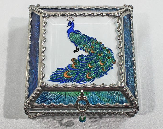 Etched Hand Painted Peacock