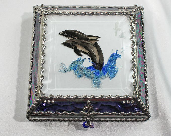 Etched, Hand Painted, Dolphin, Ocean, Sea, Jewelry Box, Keepsake Box, Faberage, Glass Box
