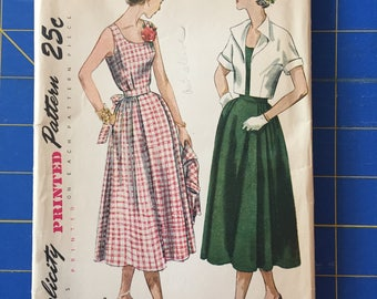 Simplicity 3196 - Size 16 - Vintage 1950 Maternity Dress and Bolero - Uncut