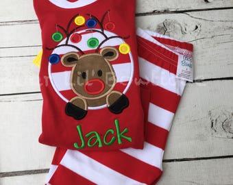 PRE-ORDER - Reindeer Christmas Pajamas - Christmas PJs- Pajamas- Personalized Christmas PJs - Christmas Reindeer -Matching Christmas Pajamas