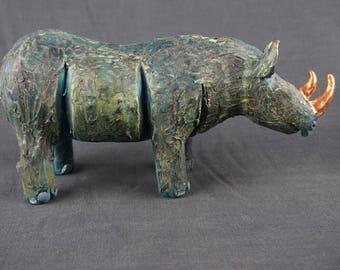 Rhino, rhinoceros sculpture, hand made rhino