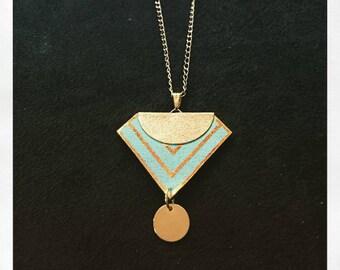 collier long reversible noir et  turquoise