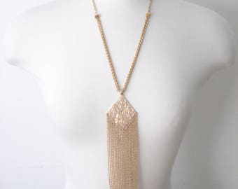 Vintage Statement Tassel Gold Necklace  - Long Tassel Pendant Retro Jewelry 1980s