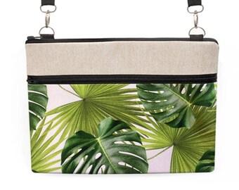 Tropical Laptop Bag, Banana Leaf Macbook Crossbody, Monstera Laptop Bag, Dell Laptop Tote, iPad ProZipper Tote - tropical palm leaf print