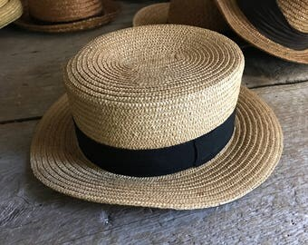 Authentic French Straw Boater Hat Black Grosgrain Ribbon