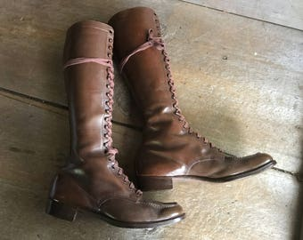 Antique Leather Boots, Lace Up, Brown, ca 1920s, Size 7, 8 US