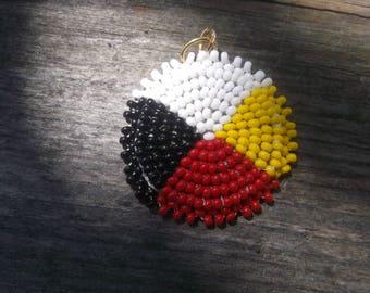 medicine wheel pendent, native american beadwork
