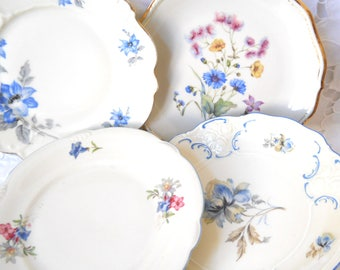 4 vintage mismatched salad plates floral breakfast plates floral side plates bridal shower tea party wedding