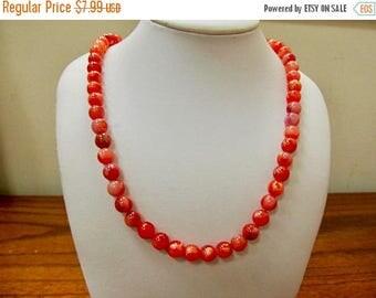 On Sale SARAH COVENTRY Variegated Orange Plastic Beaded Necklace Item K # 548
