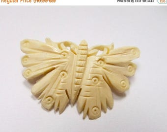 ON SALE Vintage Hand Carved Butterfly Pin Item K # 1160