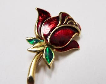 ON SALE Retro Enameled Rose Pin Item K # 1667