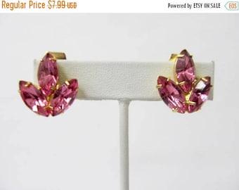 ON SALE Vintage Hot Pink Prong Set Rhinestone Earrings Item K # 2674