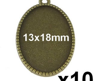 10 blank cabochon pendant bronze medal for 13x18mm mod104