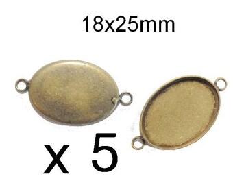 5 connectors 18x25mm bronze cabobochon