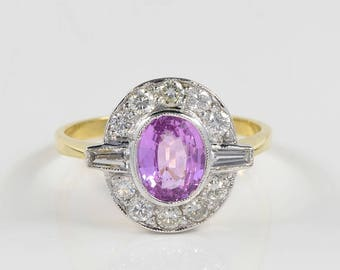 Art Deco natural Ceylon pink sapphire and diamond ring