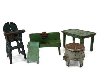 Dollhouse Furniture by Kilgore Toys that Last Cast Iron High Chair, Table, Washer and Sinkj