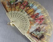 Plastic and Fabric Cream Spanish Hand Fan Flamenco Dancer with Lace Edge Holiday Souvenir