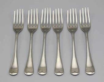 6 EP Electro Plated Dessert Forks Silvawyte Nickel Silver Plated