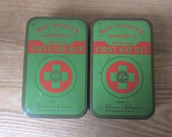 Vintage Tin Official  Boy Scouts of America First Aid Kit,  Johnson and Johnson BSA Tin