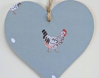 Wooden Hanging Heart in Sophie Allport Chicken