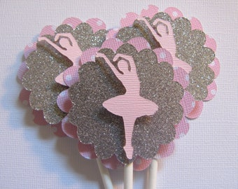 Ballerina cupcake toppers, Set of 12,  Tutus, dancer cupcake toppers, Pink and Silver Cupcake toppers