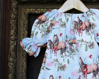 Girls Christmas Dress, Horse Dress, Baby girls Christmas outfit, Rustic Christmas dress, Girl horse dress, holiday dress, winter outfit