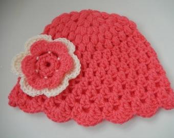 crochet baby girl hat / crochet baby cap / girls hat with flower / pink cap / 0-6 month hat