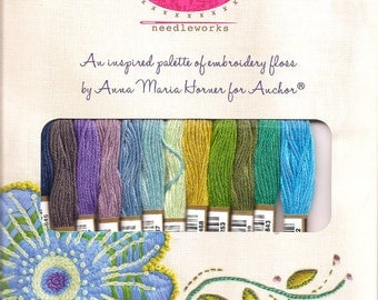 """Anna Maria Horner EMBROIDERY FLOSS """"Seafaring"""" Palette (see project idea)"""