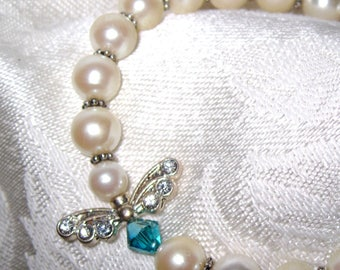 Angel Pearl Bracelet, Creamy Pearls, Blue Crystals, Angel wings, Free Shipping, Free Shipping