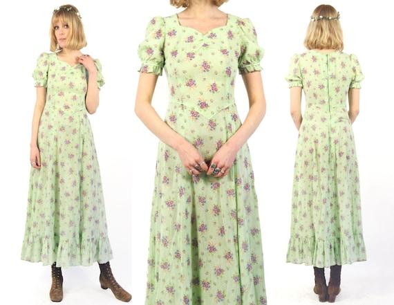 Vtg 70s Folk Floral Maxi Dress S/M