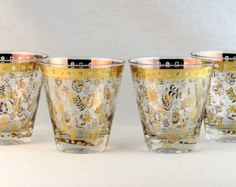Gold Gilded Glasses - Mad Men Era - Hollywood Regency Design Motif - Culver Valencia and Gorges Briard Style Cocktail Glasses Lot of Four