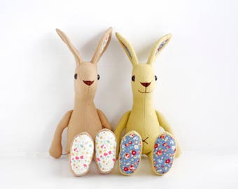 """Bunny rabbit sewing pattern """"Jack rabbit""""  with straight up ears, step-by-step  tutorial for instant download ,  big eared bunny"""