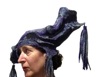 Wearable Art Festival Headdress - Statement Hat with Tassels - Purple and Green Headpiece - Exotic Extravagant OOAK Hat - Chinese Opera