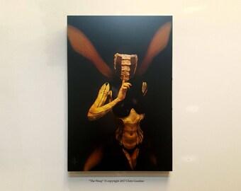 "Fantasy Art, fairytale, hand built frame, ""The Wasp"" Mounted Photo, Dark art, wasp Art, yellow jacket,bee girl, fetish art, bdsm, fairy"