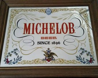 Michelob beer vintage bar mirror with wooden fram