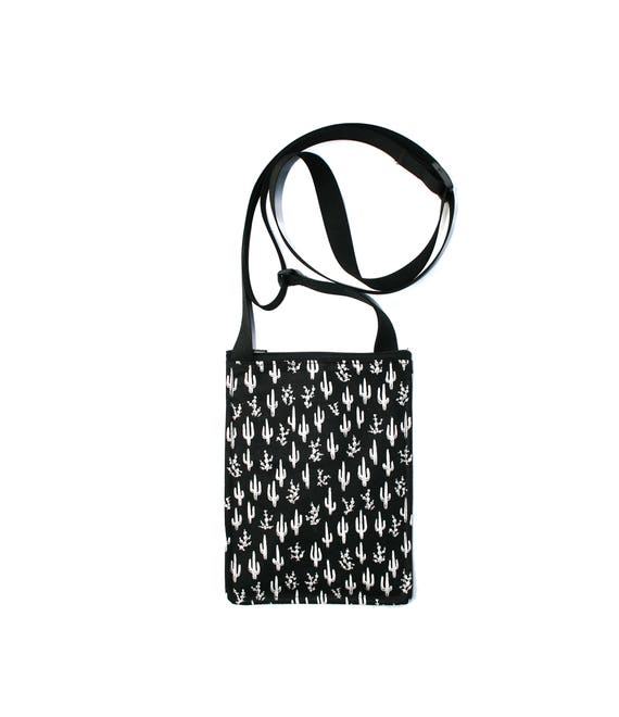 SALE! cactus, black and white, southwest, small cross body, vegan leather, zipper top, passport bag, adjustable strap