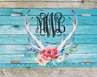 Personalized Roses and Rustic Turquoise Wood with Antlers Design License Plate Monogrammed License Plate