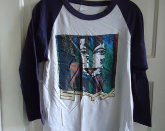 Vintage 80s STYX Trashed Raglan T Shirt sz S/M