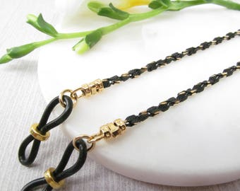 Black and Gold Spectacles Chain; Eyeglass Chain; Reading Glasses Holder Necklace; Glasses Leash; Glasses Cord; Black Glasses Chain