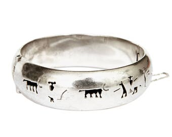 Taxco Hinged Bangle, Matador Story Teller Bracelet, 925 Sterling Silver, 45gr Mexican Bracelet, 80s Bull Fight Cowboy Rodeo, Tauromachia
