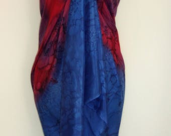 Hand Dyed Red and Navy Silk Sarong/ Wrap