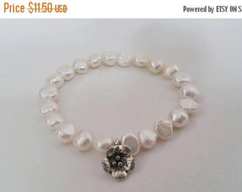 ON-SALE Junior Bridesmaid Bracelet - Freshwater Pearl with Flower Charm, Flower Girl Gift, Bridal Party Gift, Wedding Jewelry - Stretchy Bra
