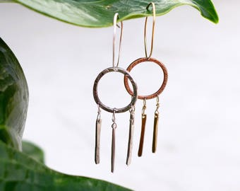Flapper Earrings, Brass or Sterling Silver
